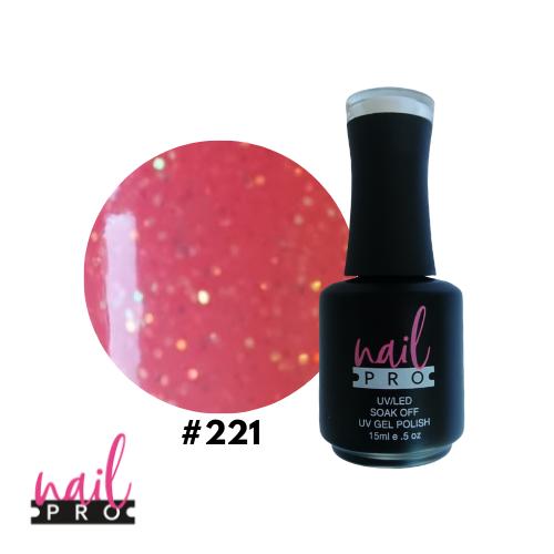 NAIL PRO Esmalte Permanente 221 Rosa anaranjado micro glitter