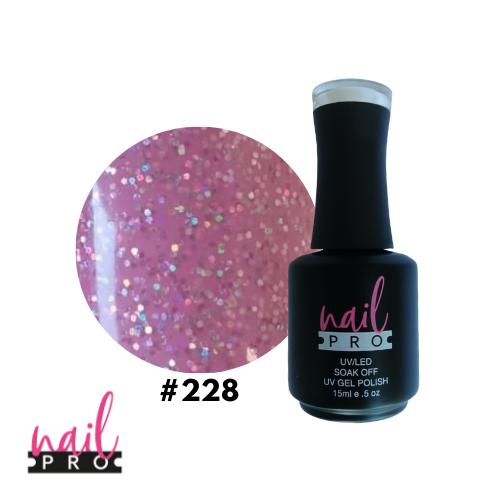 NAIL PRO Esmalte Permanente 228 Rosado pastel con micro glitter