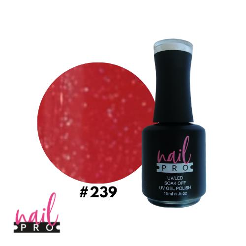 NAIL PRO Esmalte Permanente 239 Rojo glitter