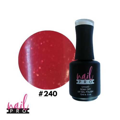 NAIL PRO Esmalte Permanente 240 Rojo micro glitter