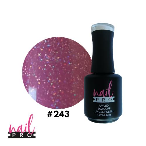 NAIL PRO Esmalte Permanente 243 Rosa Lila Con micro glitter