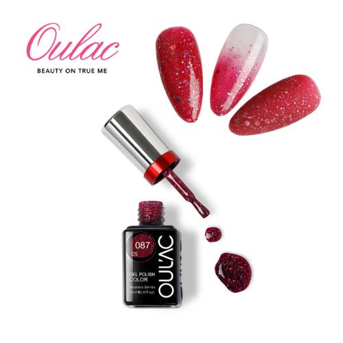 OUL'AC MASTER Esmalte Permanente DS087 Glitter Rojo Burdeo