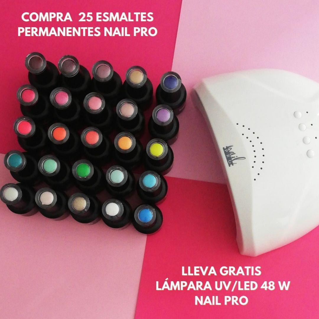 PACK 25 ESMALTES PERMANENTES NAIL PRO + REGALO LÁMPARA
